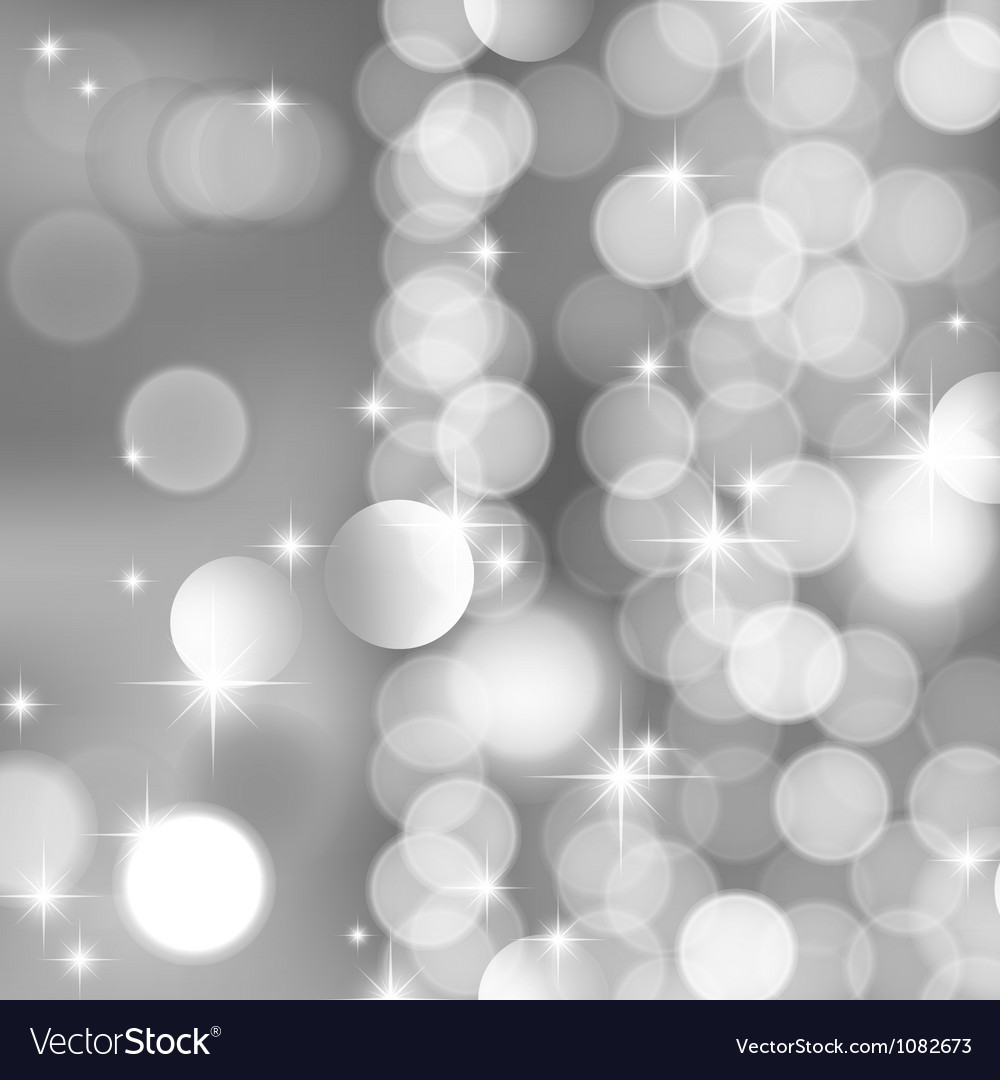 Silver blurred lights and stars vector