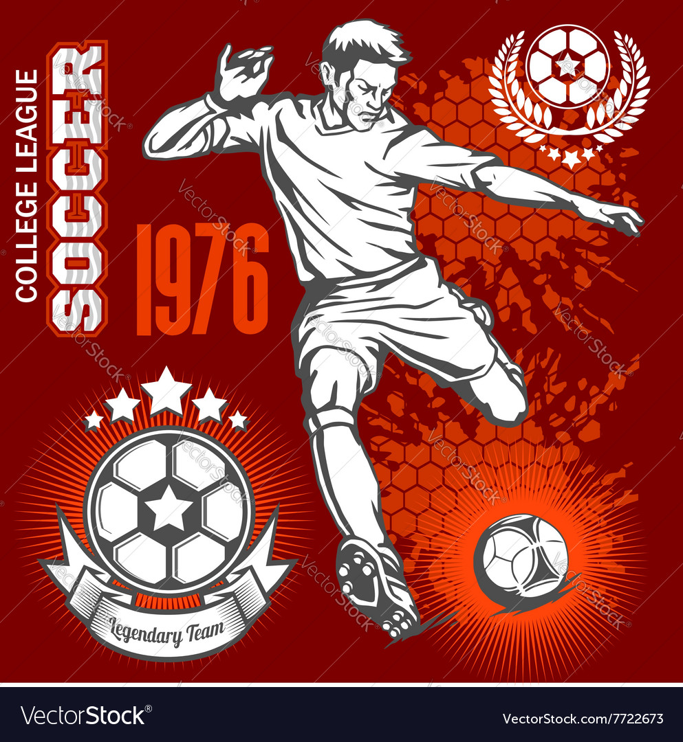 Soccer player kicking ball and football emblems vector