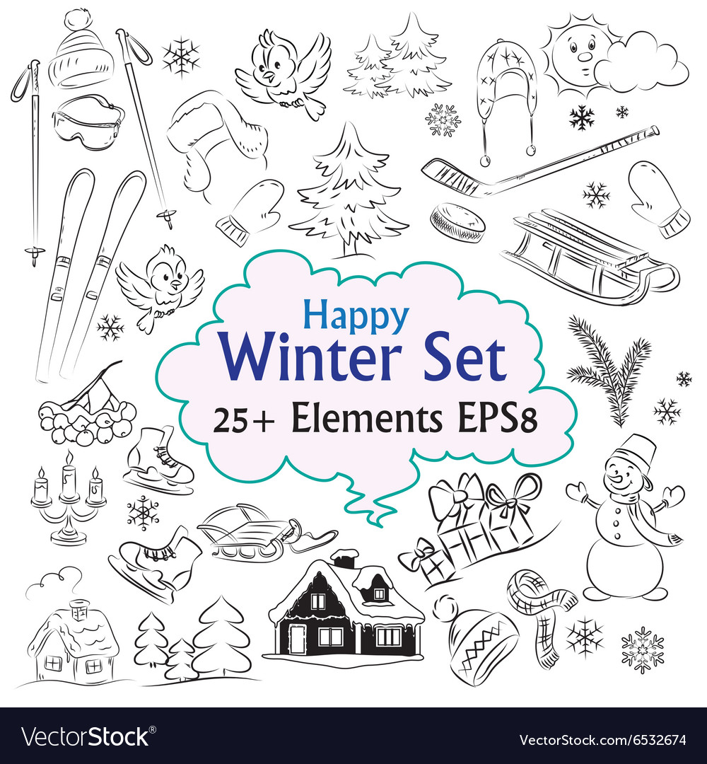Beautiful winter sketch collection vector