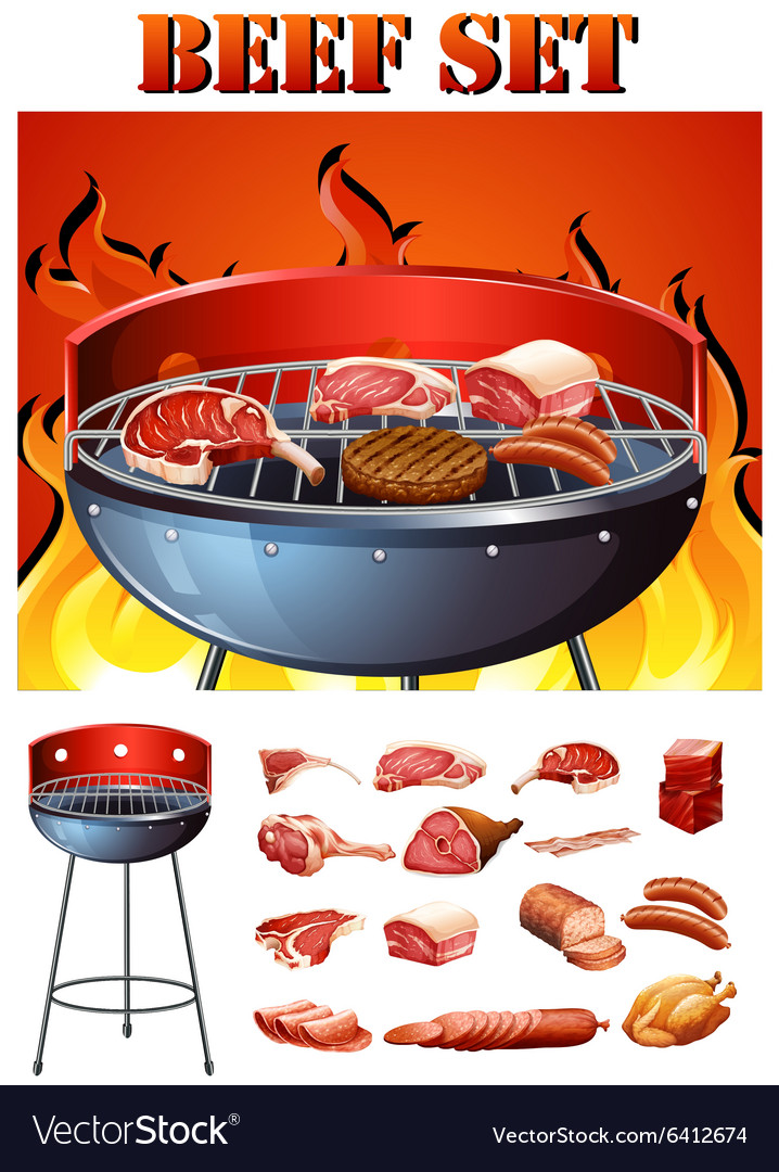 Different kind of meat on the grill vector
