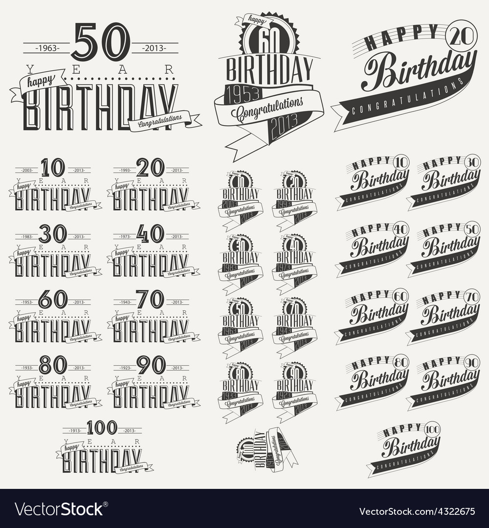 Retro vintage style birthday greeting card vector