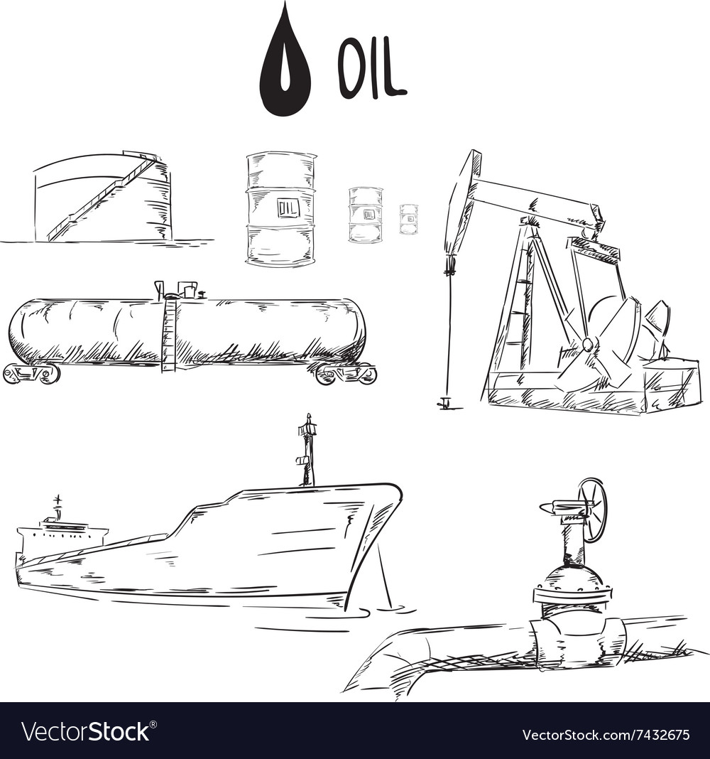Set of oil industry objects vector