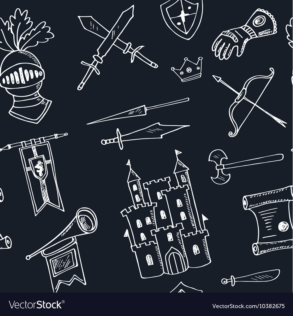 Sketch knight symbols and elements seamless vector