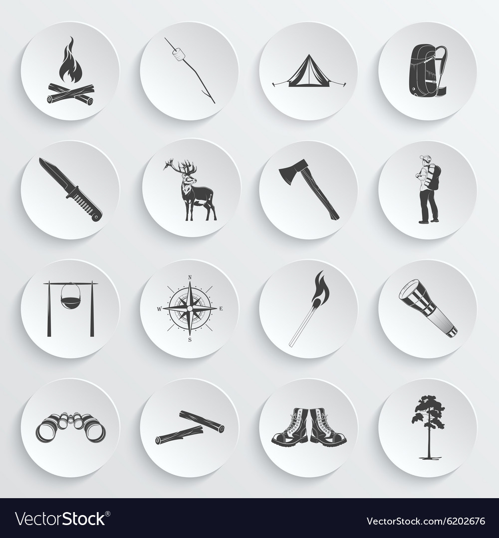 Camping icons vector