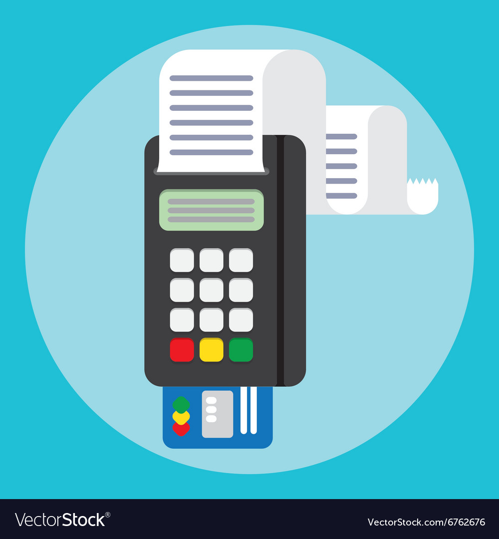 Pos terminal in flat style payment vector