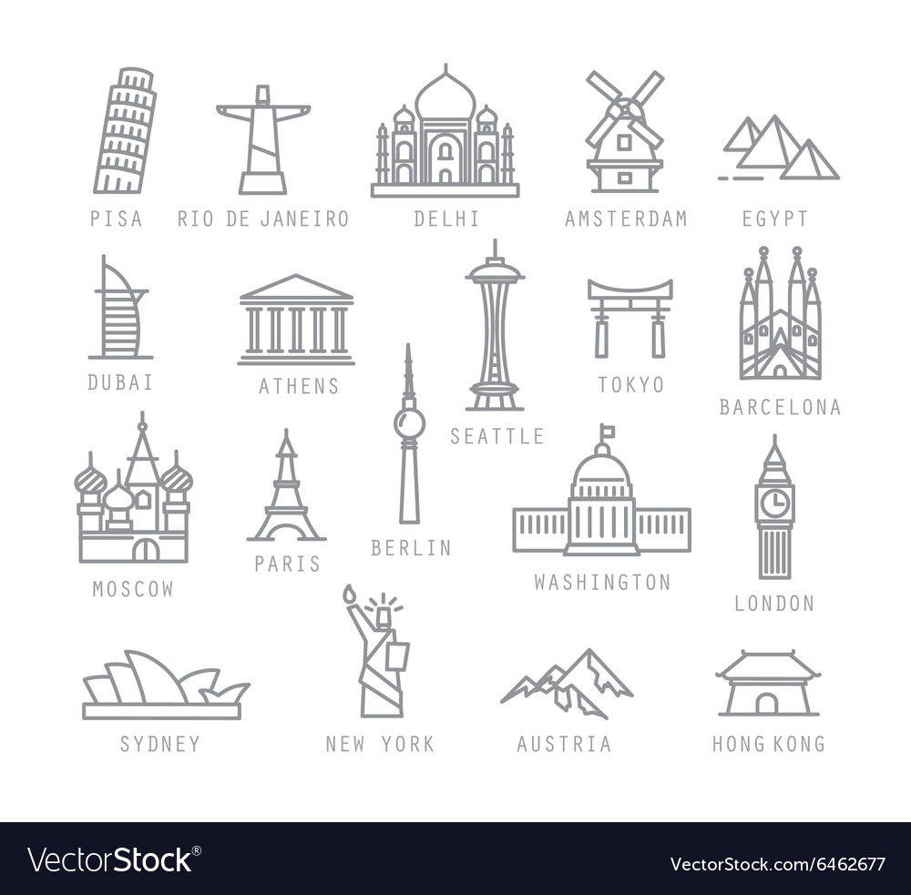 City flat icons vector