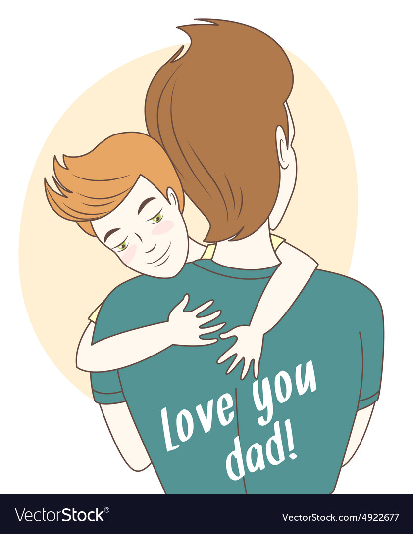 Father and son hugging hand drawn style greeting vector
