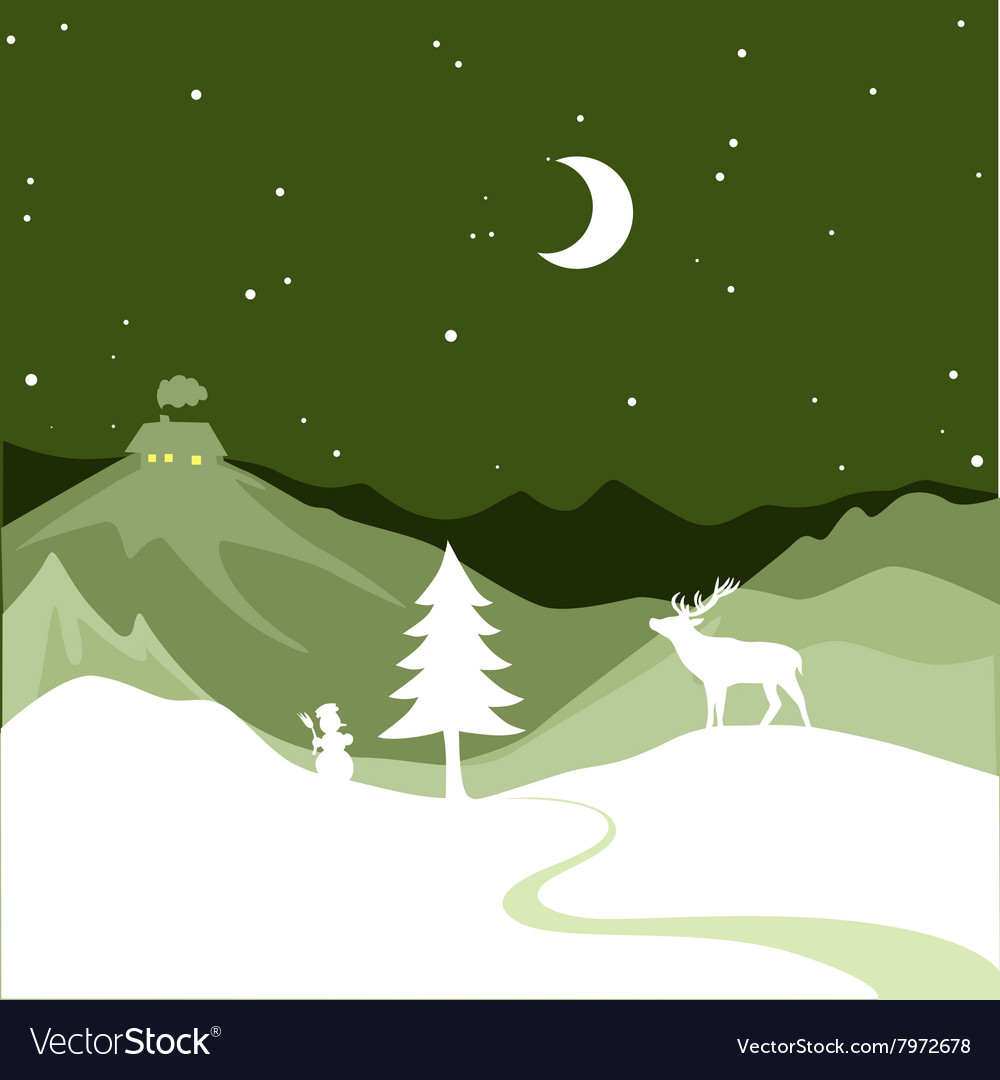 Christmas design  snowy path leads to a christmas vector