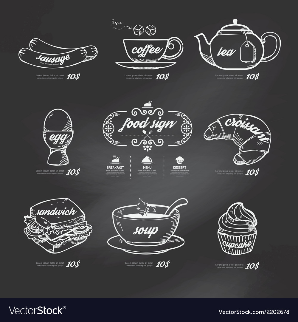 Menu icons doodle drawn on chalkboard background vector