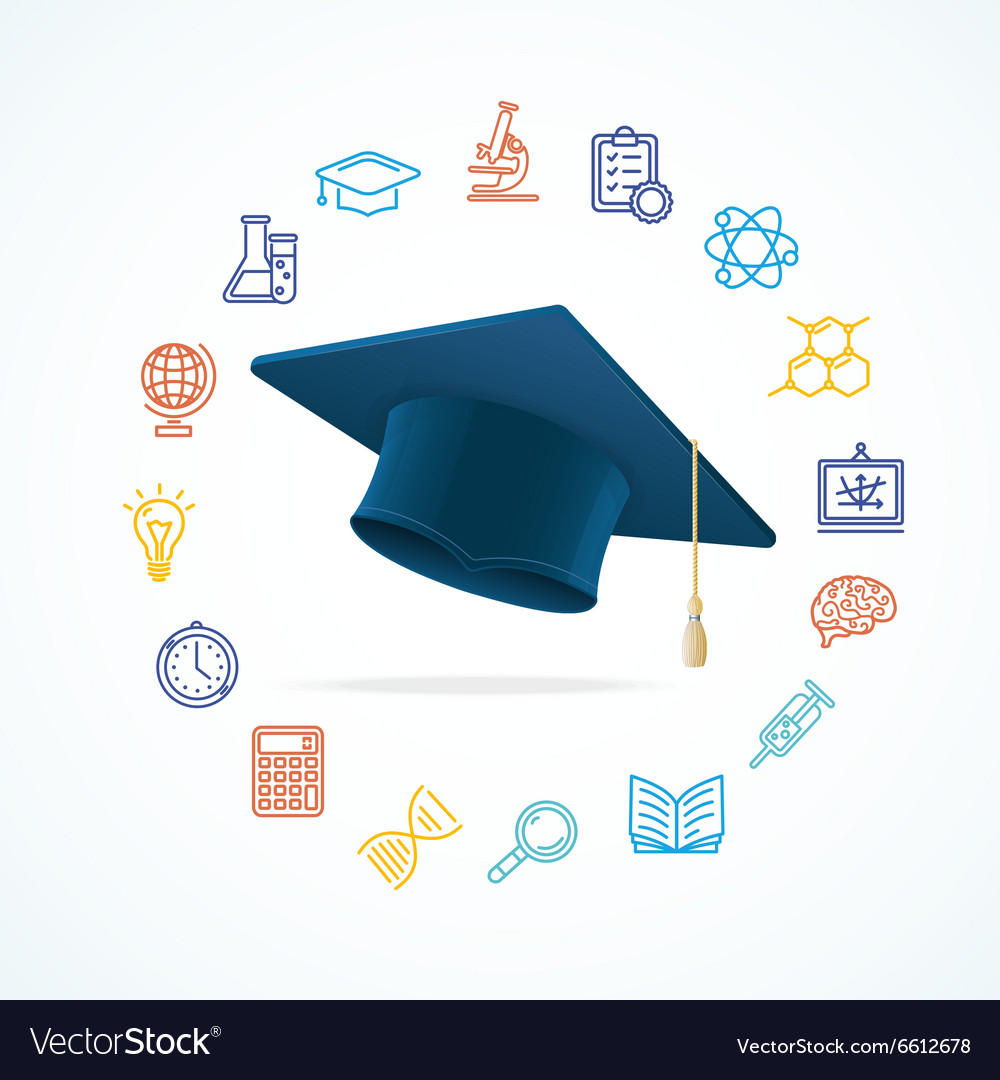 Science education concept and icons set vector