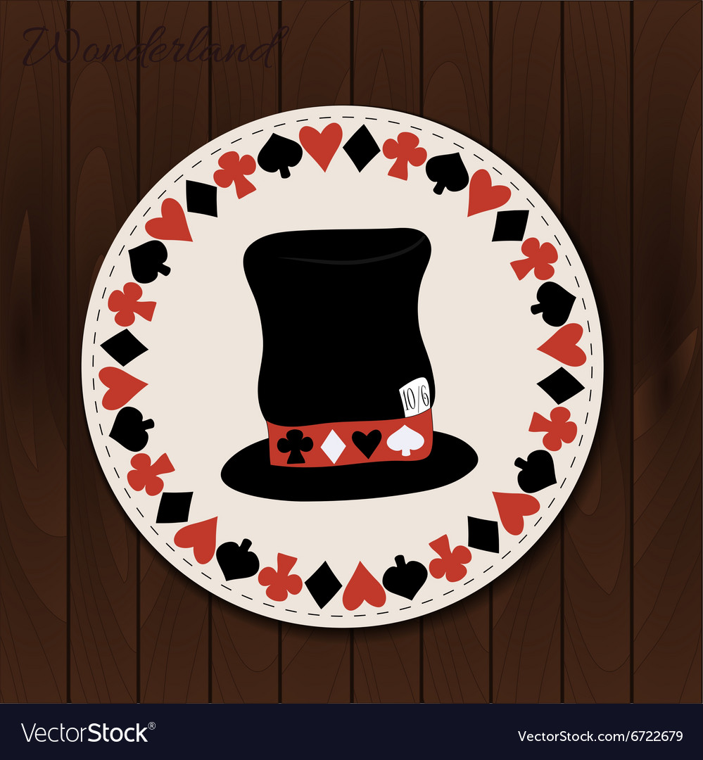 Hatter hat  drink coaster from wonderland vector