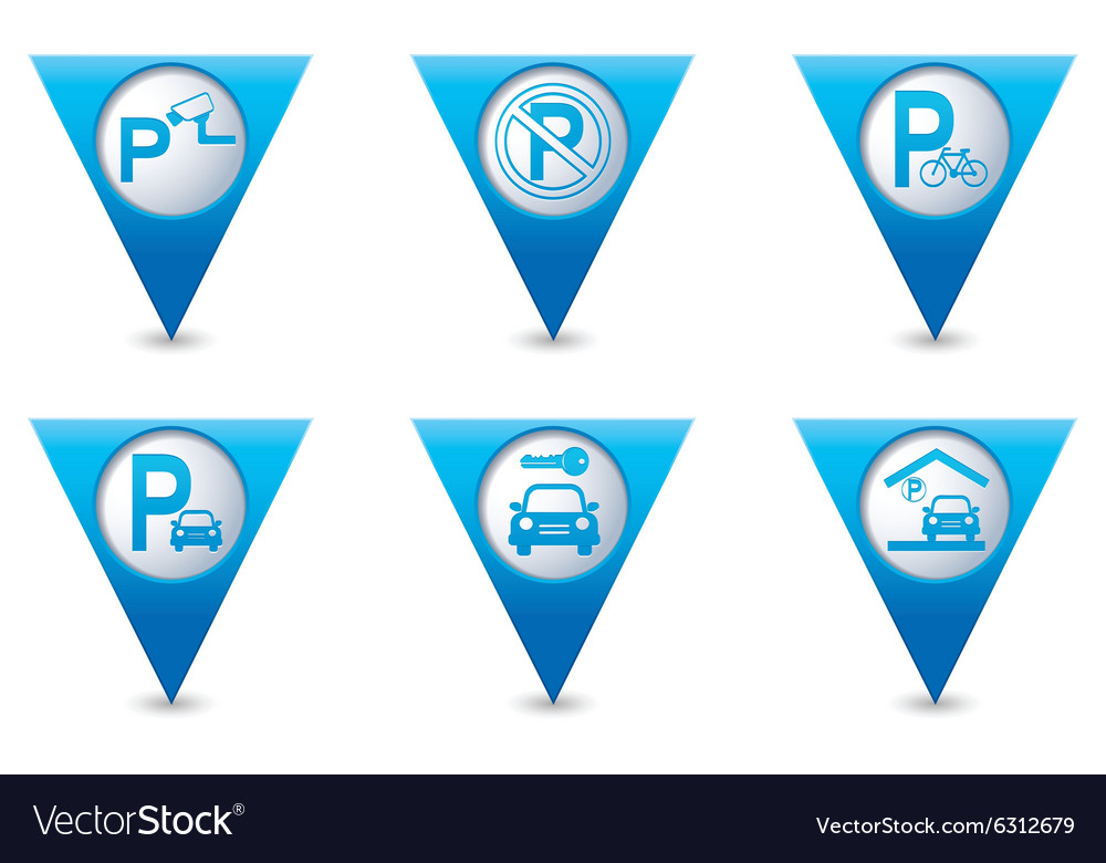 Set of 6 pointers parking blue triangular map vector