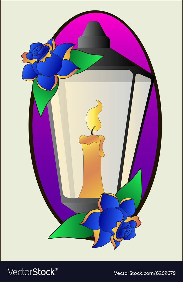 Tattoo lantern and roses stencil vector
