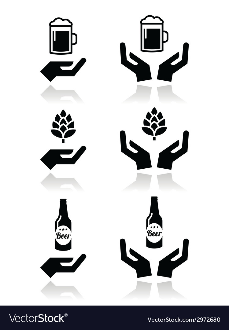 Beer bottle and glass hops with hands icons set vector