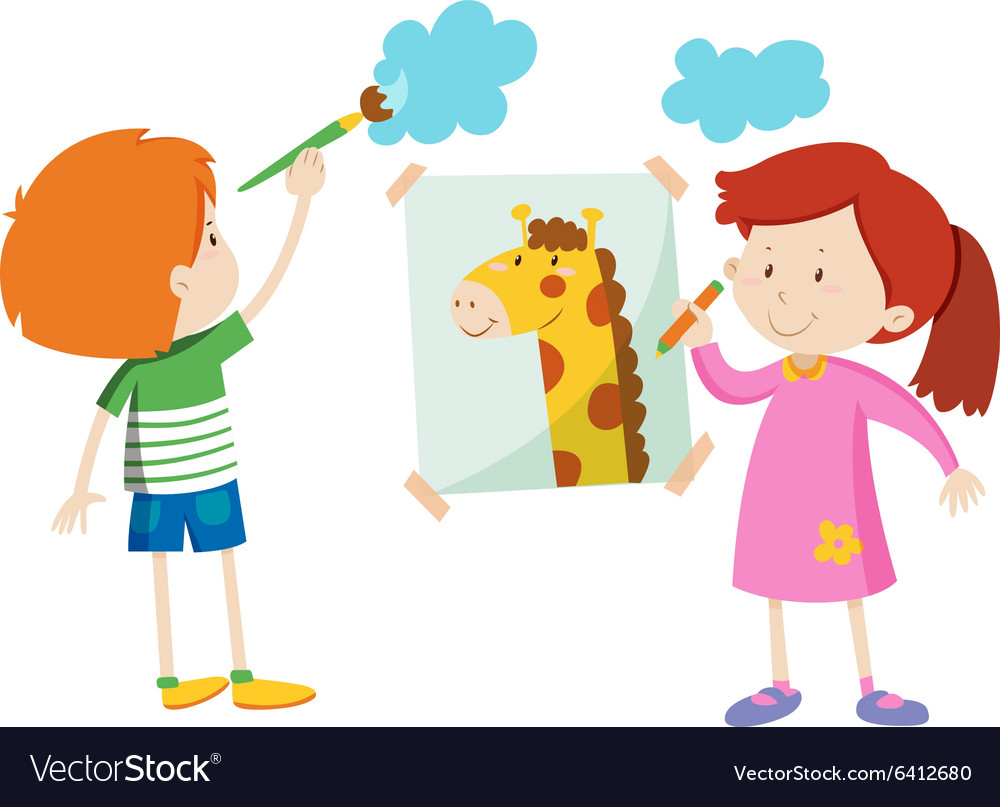 Boy and girl painting the room vector
