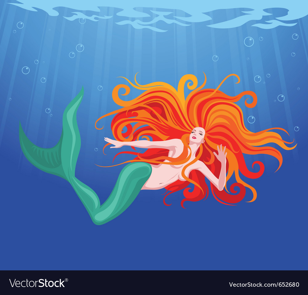 Redhaired mermaid vector