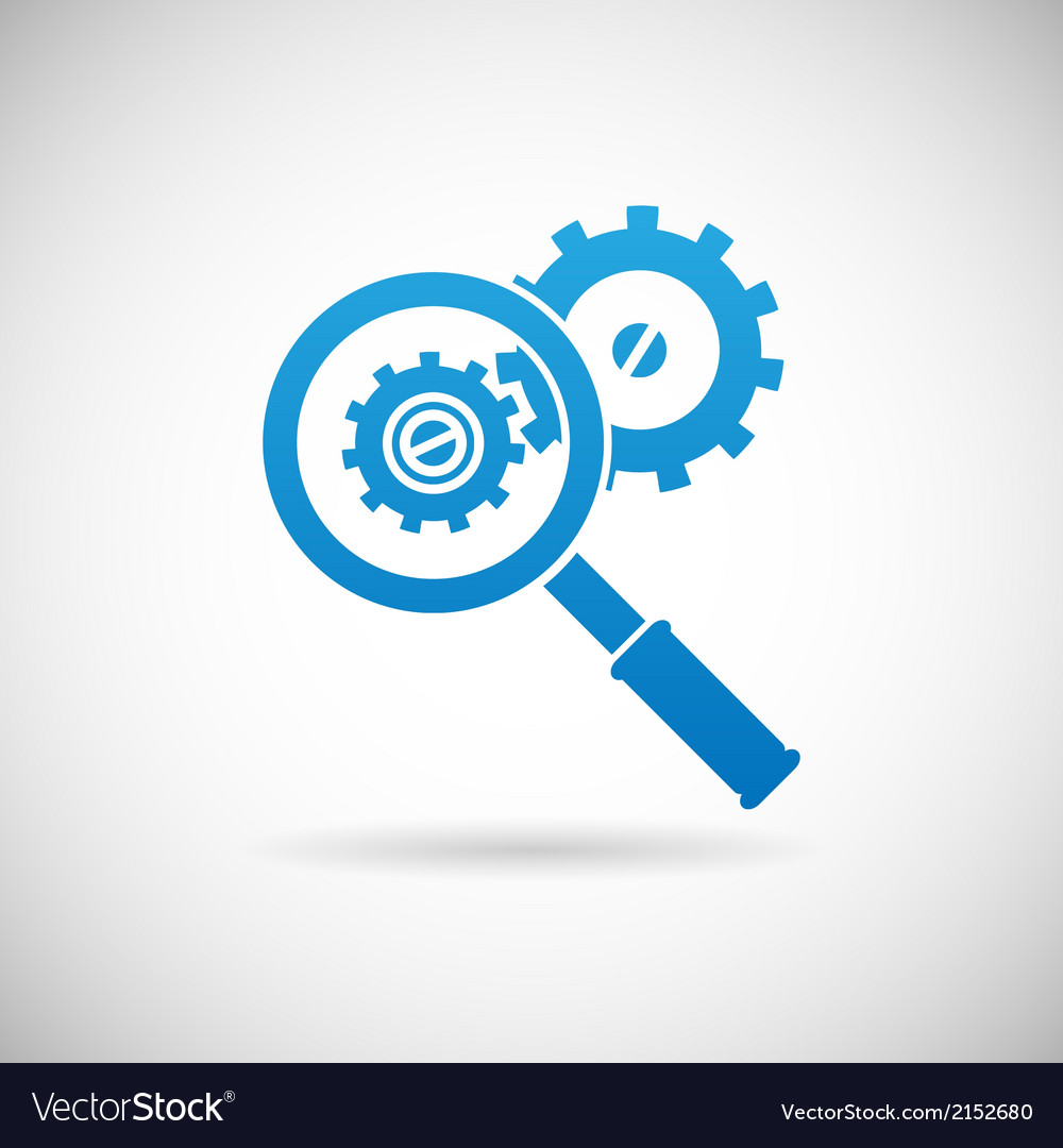 Troubleshooting symbol magnifying glass and gears vector