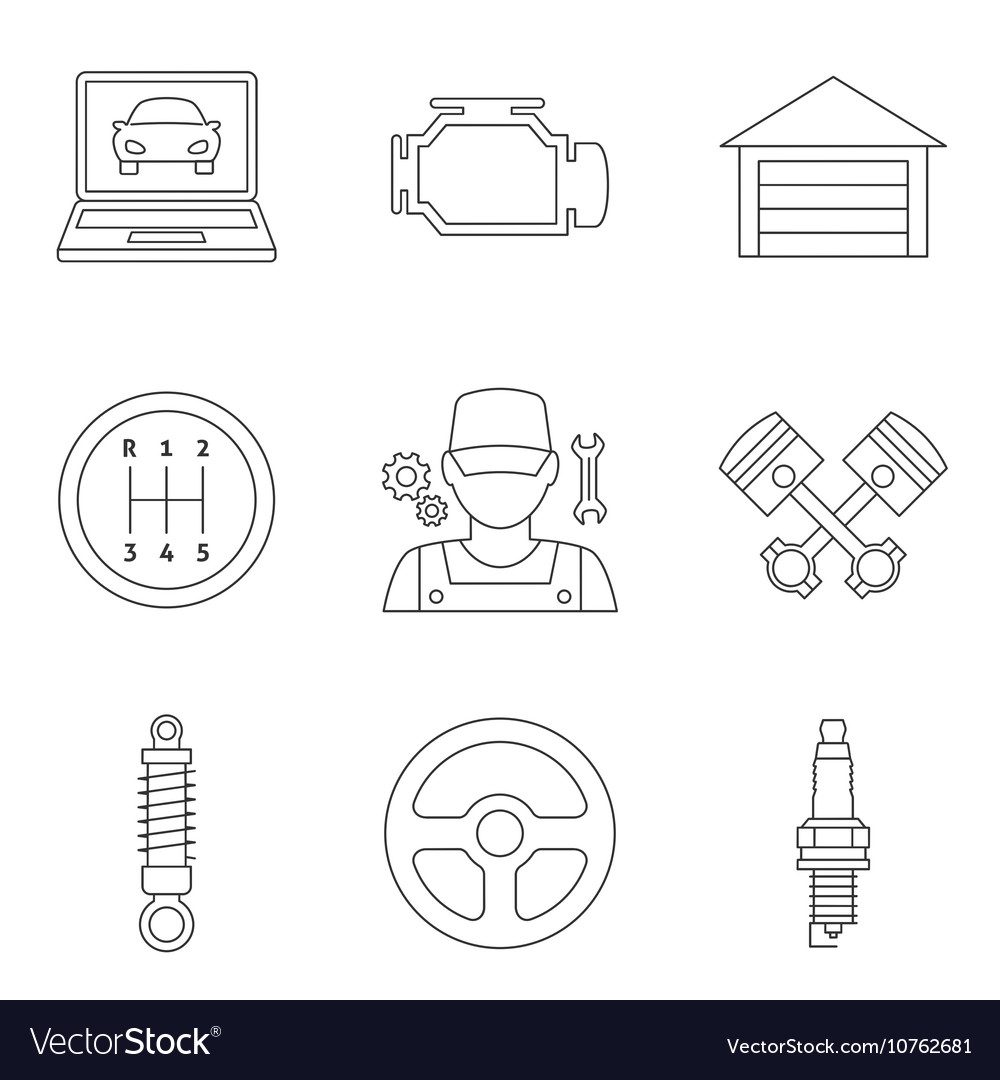 Auto service linear icons vol 2 vector