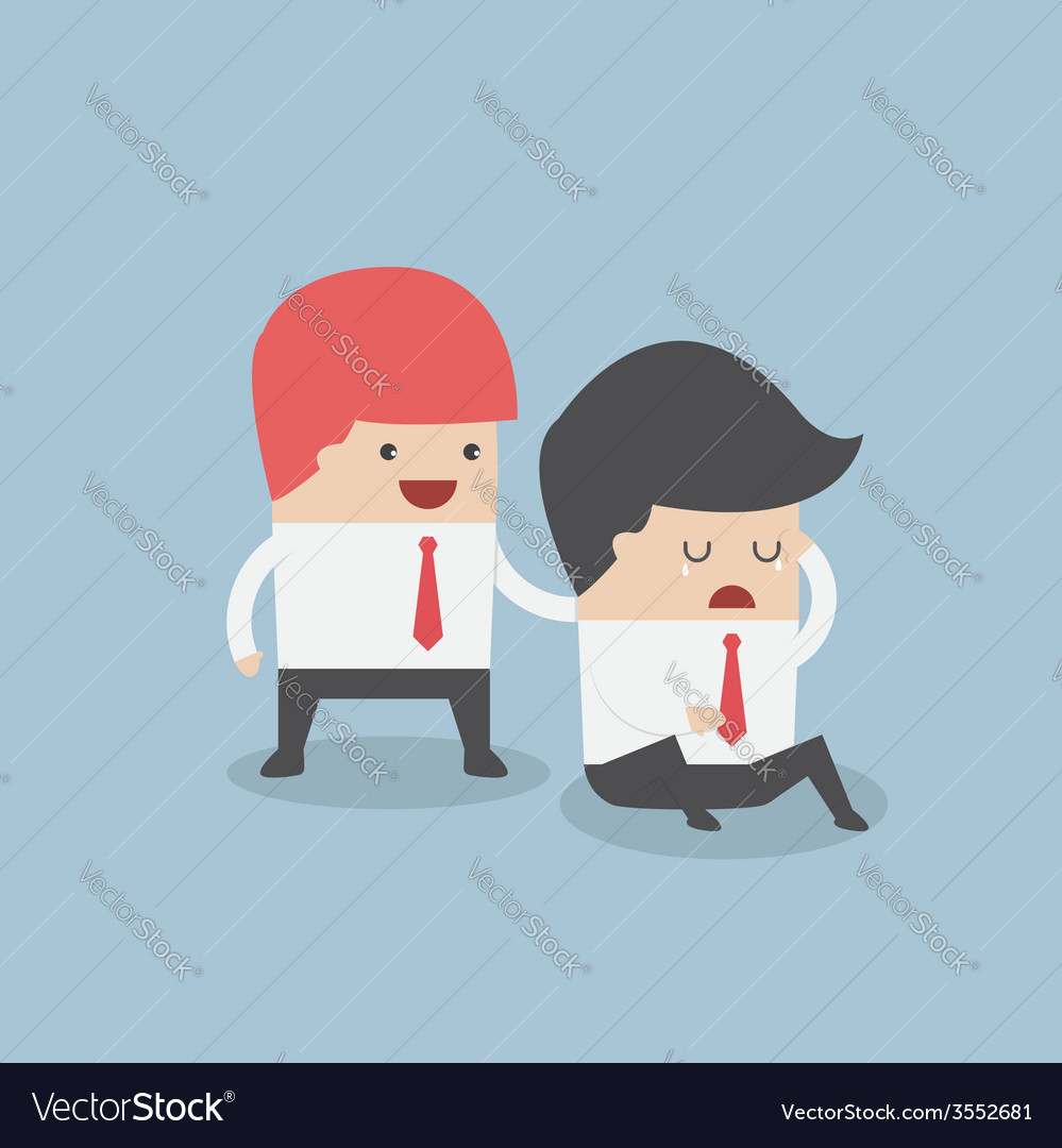 Businessman console his friend vector