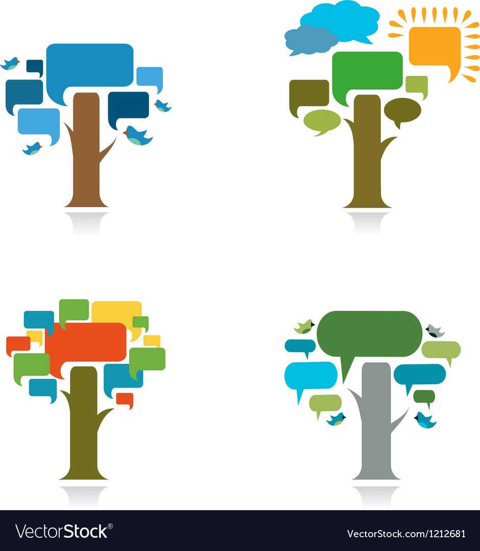 Collection od four trees with speach trees vector