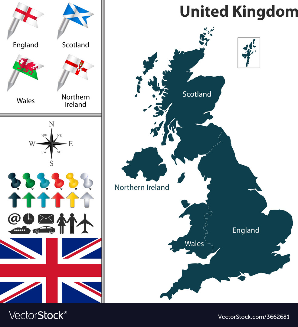United kingdom map with flags vector