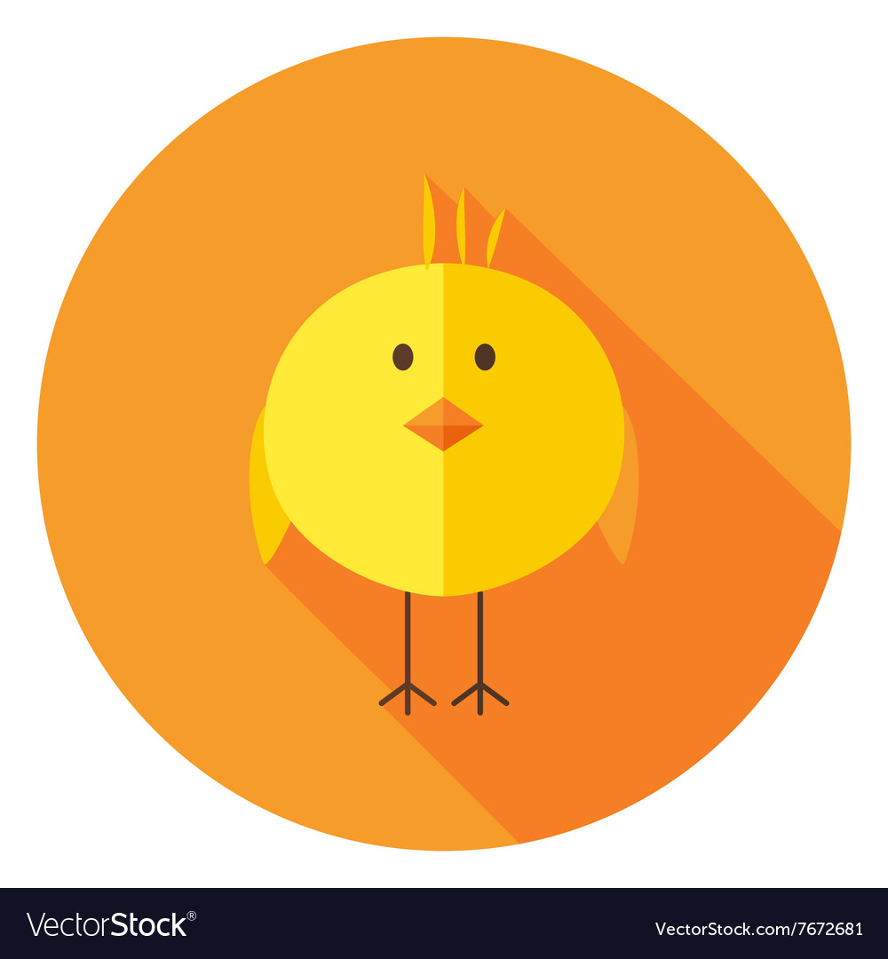 Yellow chick circle icon with long shadow vector