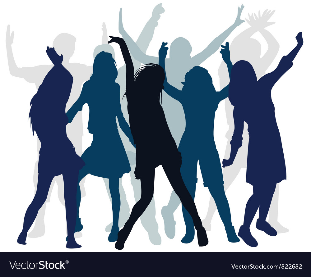 Silhouette people dance vector