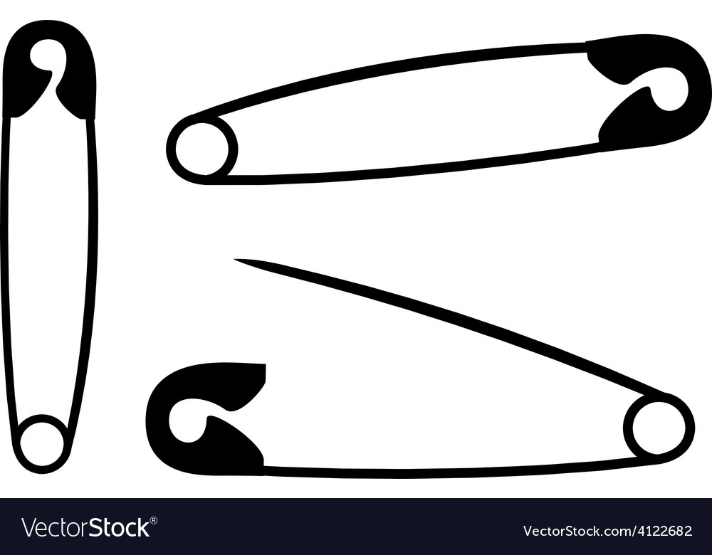 Silhouette safety pins on white background vector