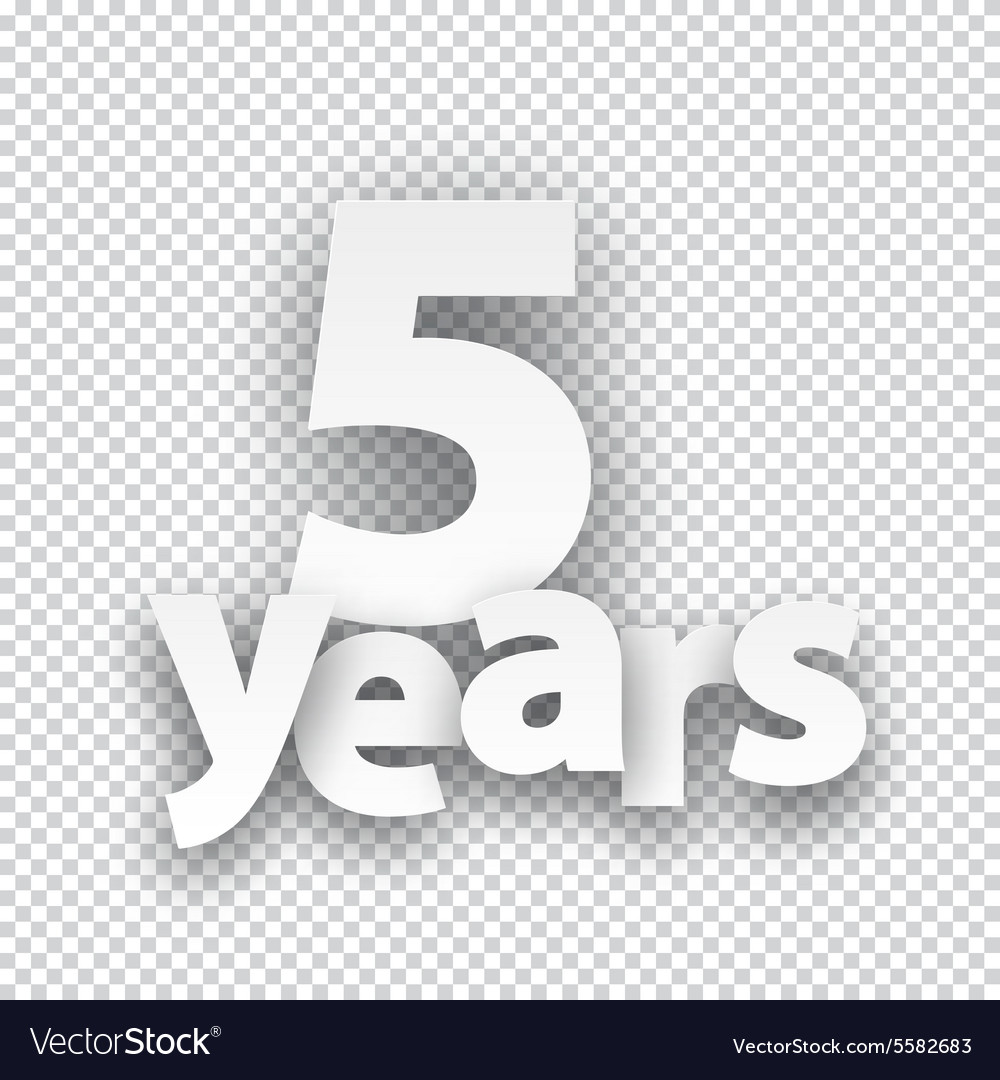 Five years paper sign vector