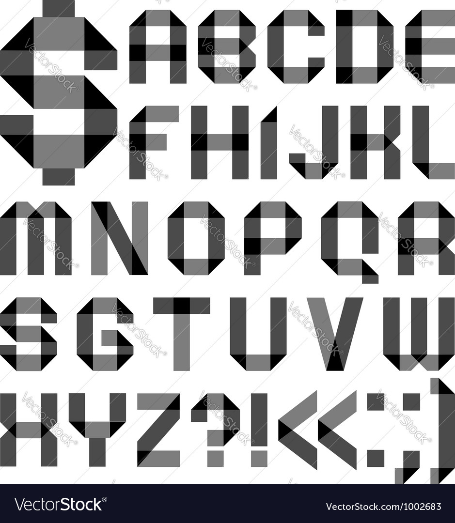 Font from a paper transparent tape  alphabet vector