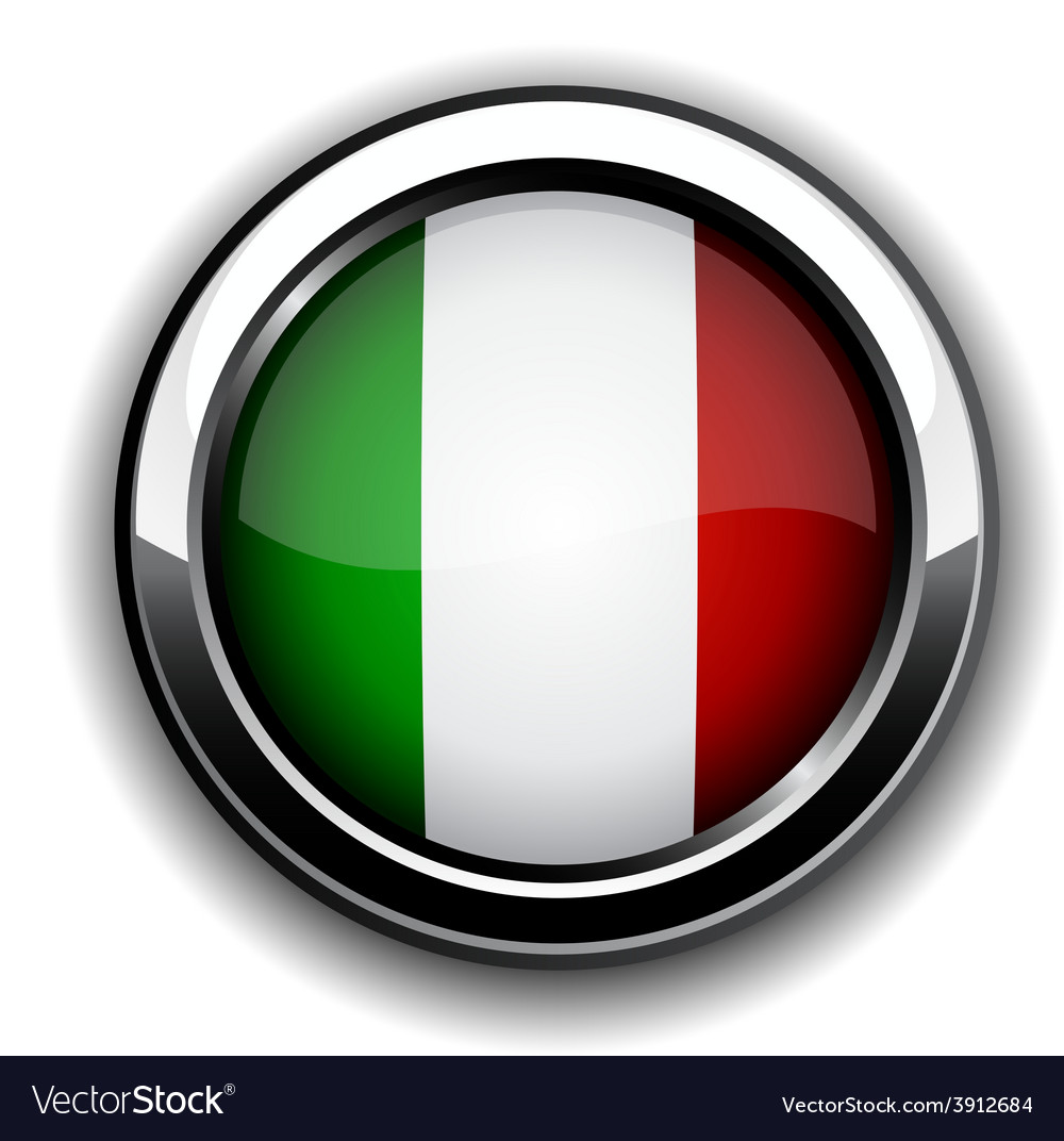 Italian flag button vector