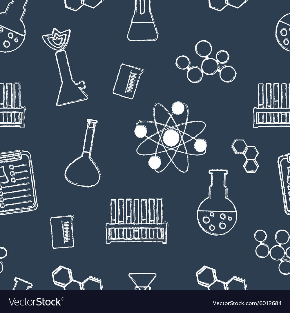 Seamless chemical pattern chemical glassware and vector