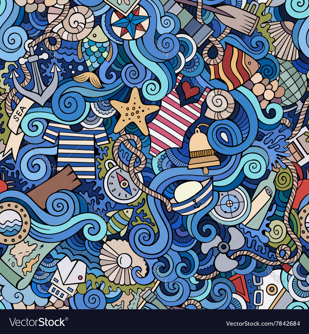 Seamless pattern sealife and marine vector