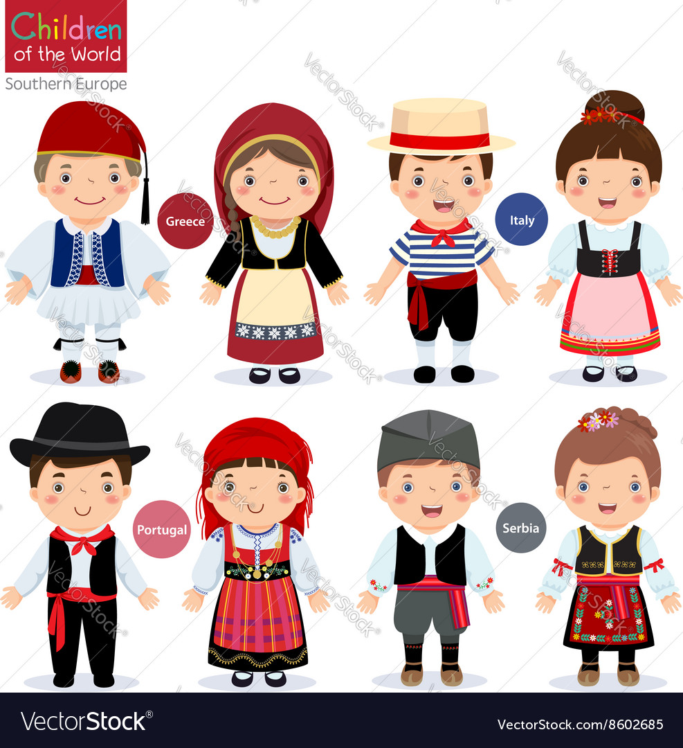 Kids in different traditional costumes vector