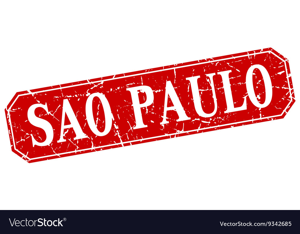 Sao paulo red square grunge retro style sign vector