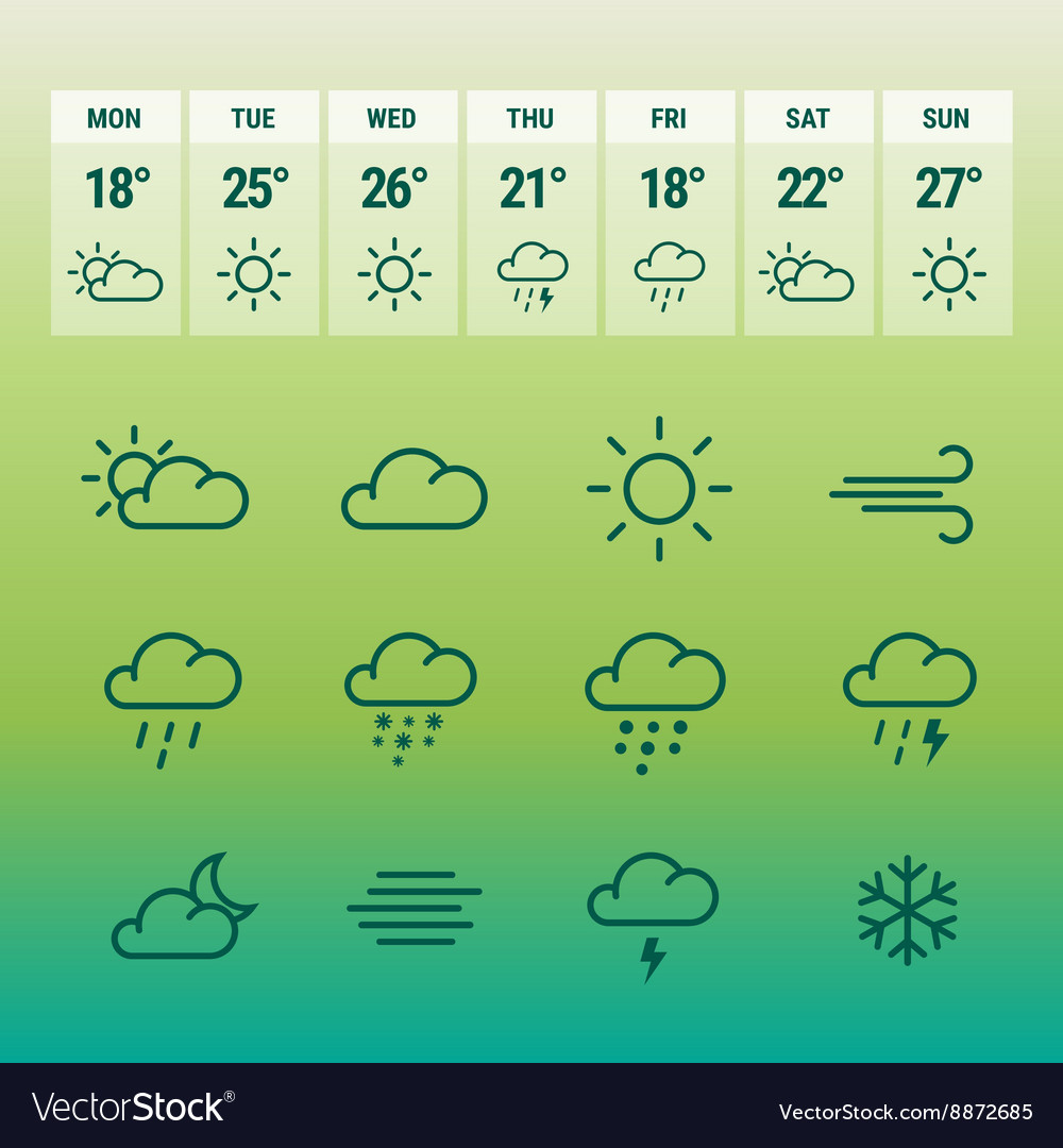 Weather forcast line icons on green vector