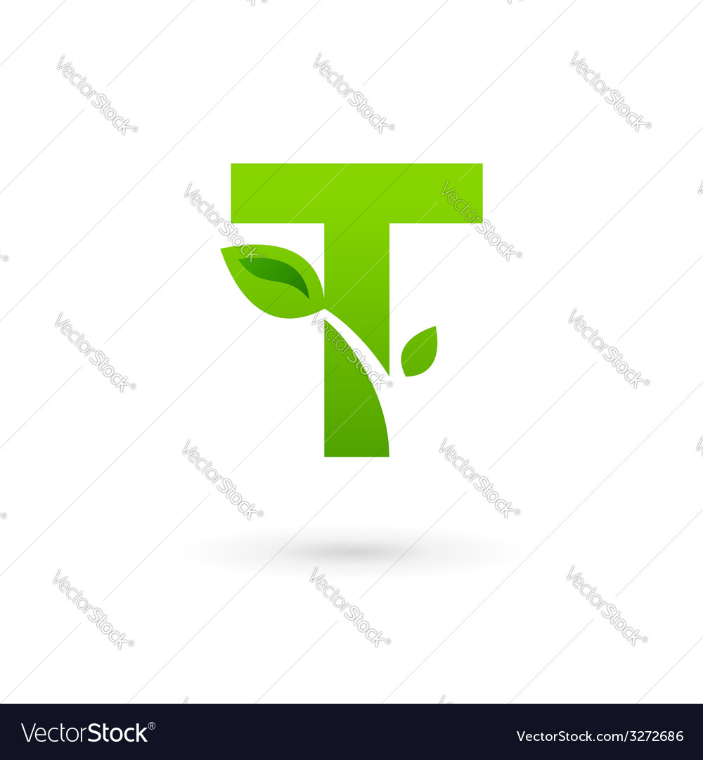 Letter t eco leaves logo icon design template vector