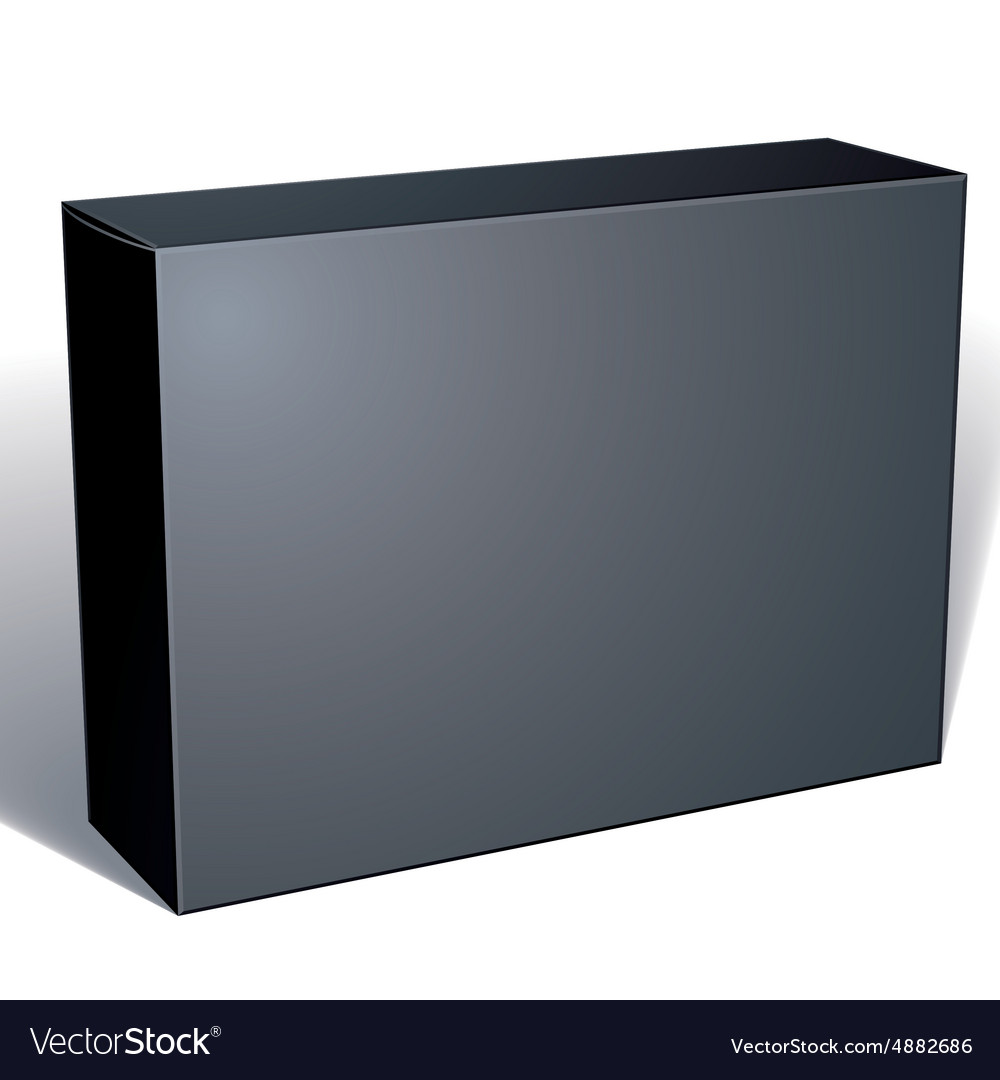 Package black box design isolated on white vector