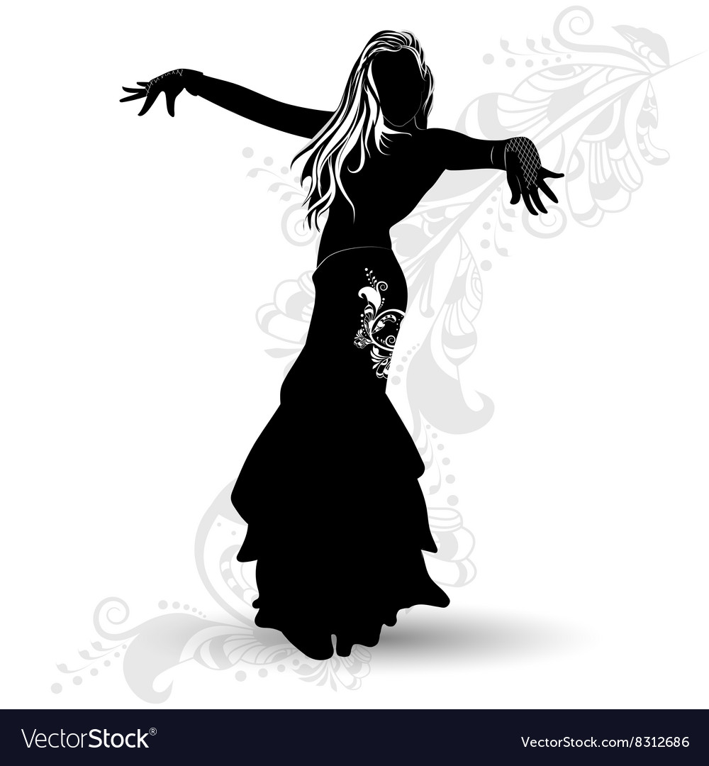 Silhouette belly dancer 1 vector