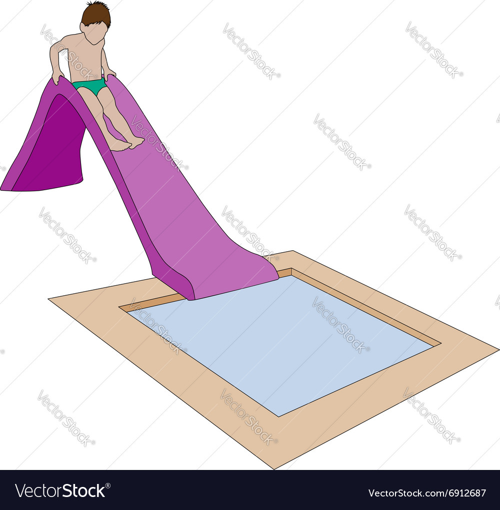Child on water slide vector
