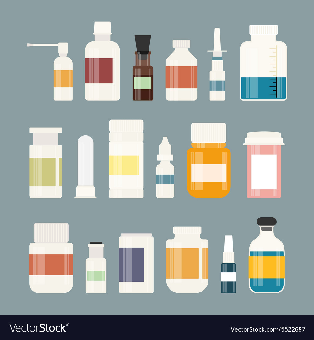 Medicine bottles collection bottles of drugs vector