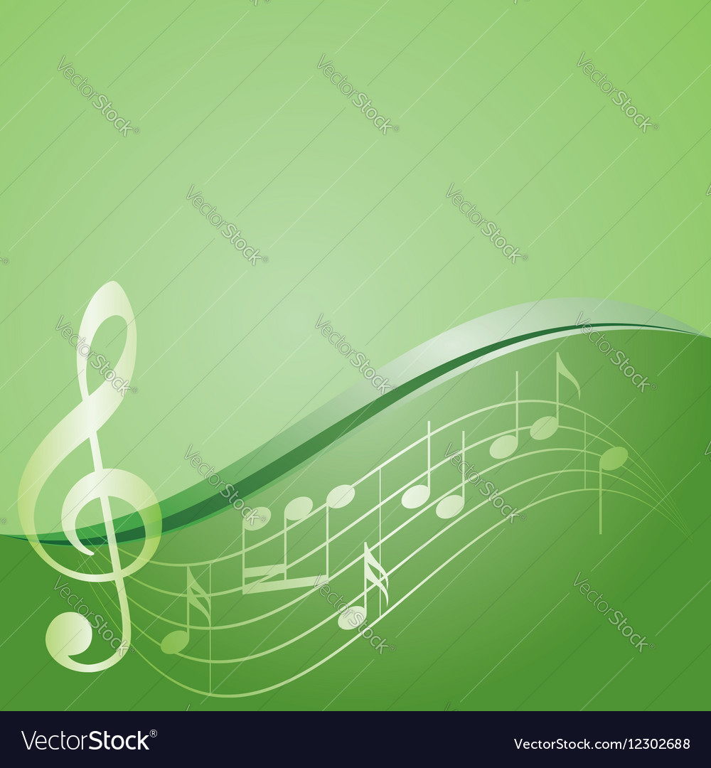 Green background  curved music notes vector