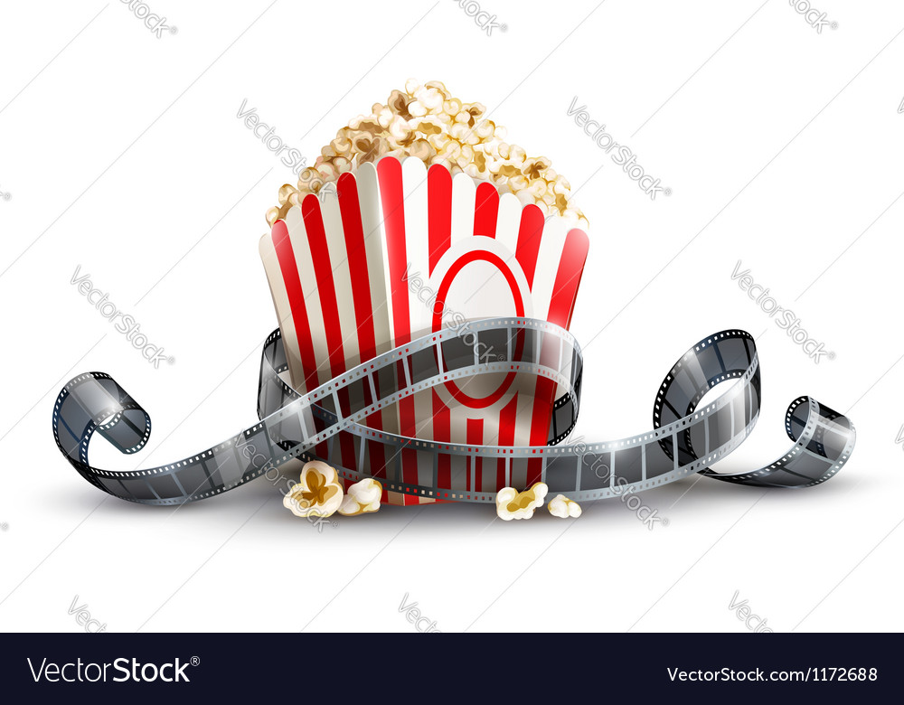 Paper bag with popcorn and vector