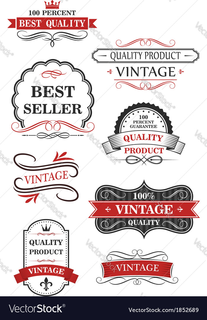 Collection of vintage wine labels vector