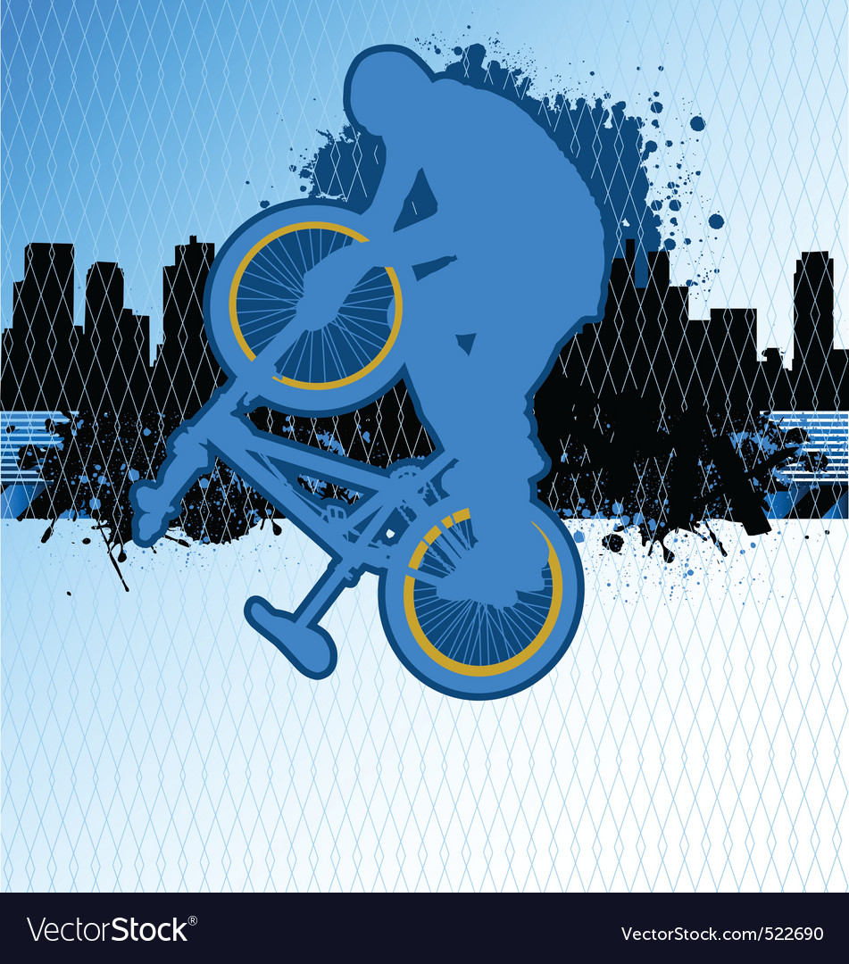 Bmx cyclist template on urban grunge backgr vector