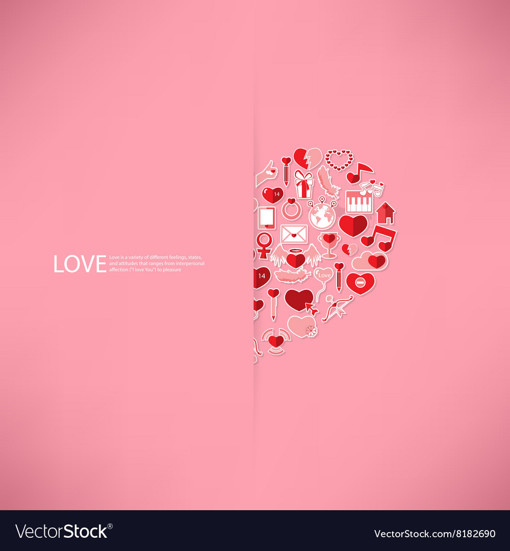 Pink icon heart valentines day card with sign vector