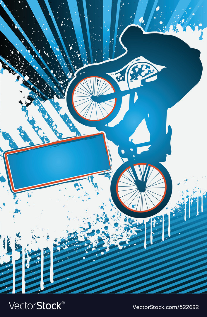 Bmx cyclist poster template vector