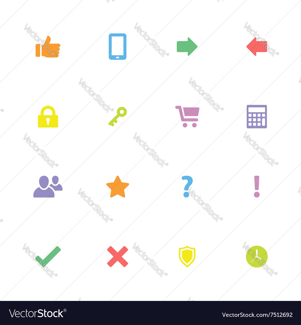 Colorful simple flat icon set 2 vector