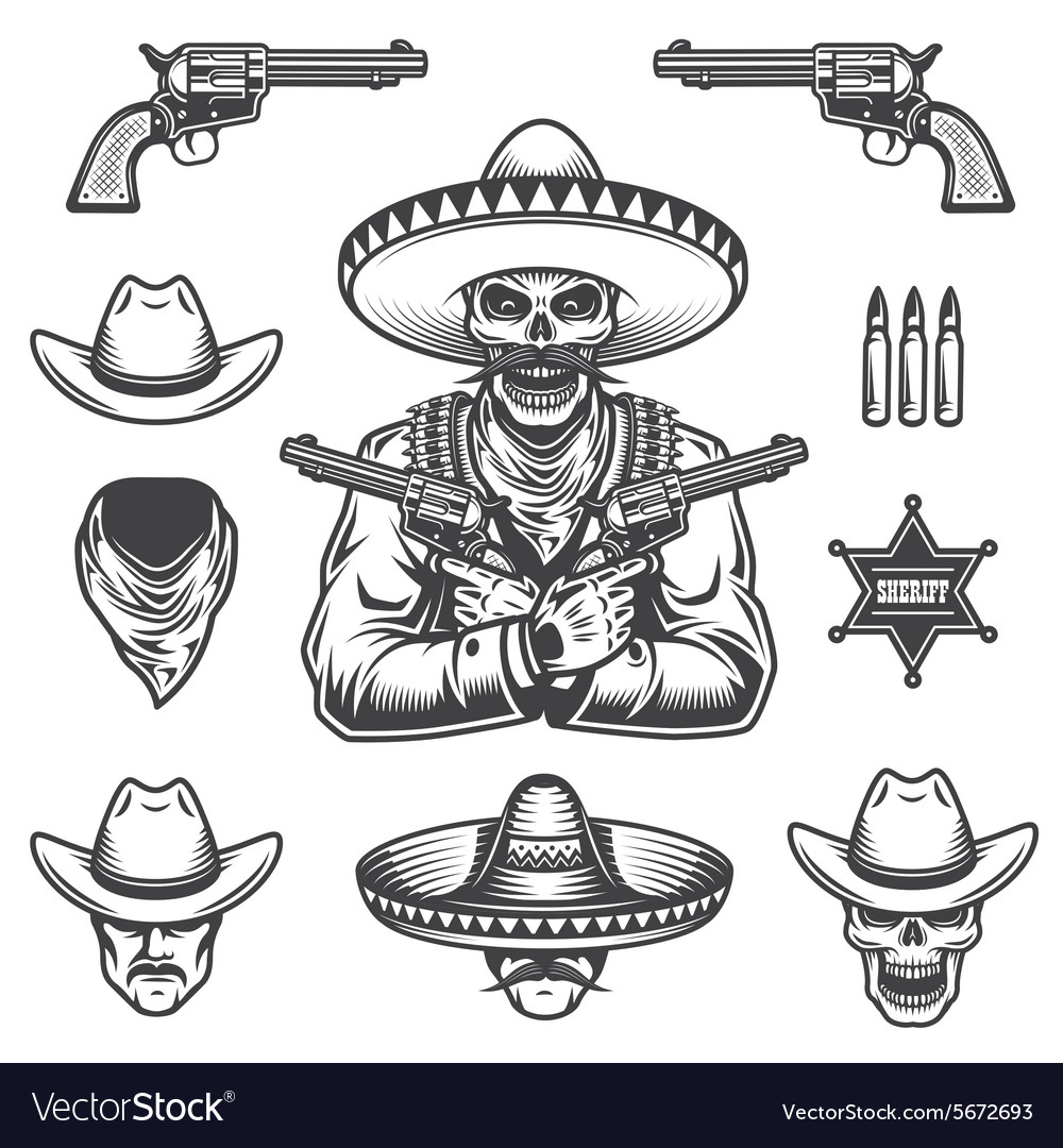 Set of sheriff and bandit elements vector