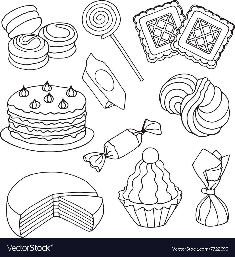 Set of sketches of sweets biscuits and cakes vector